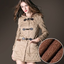 BURDULLY Winter New Women woolen Coat Hooded long section Jackets And Coats Horn Button Cotton coat Padded Warm loose Woolen Coa