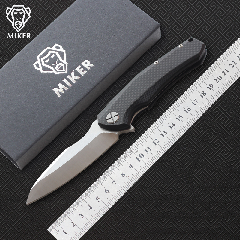 Free shipping MIKER Redesign ZT0850 Folding knife Blade D2 satin Black stonewash Handle Carbon fiber Plane