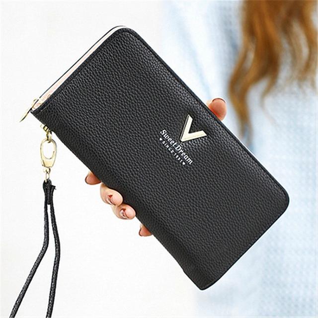 Fashion Women Wallet Long Zipper Pu Handbag Clutch Best Phone Wallet Female Case Phone Pocket Women's Purse