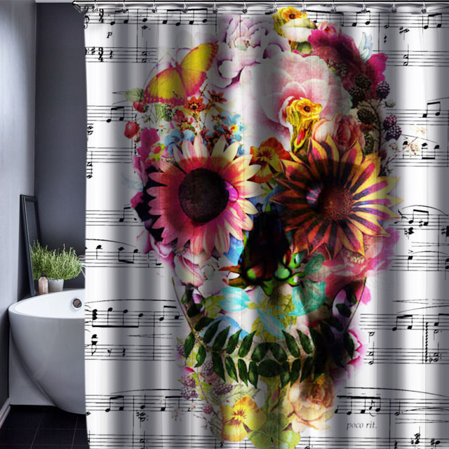 CHARMHOME Skull Shower Curtain Polyester Waterproof Fabric ...