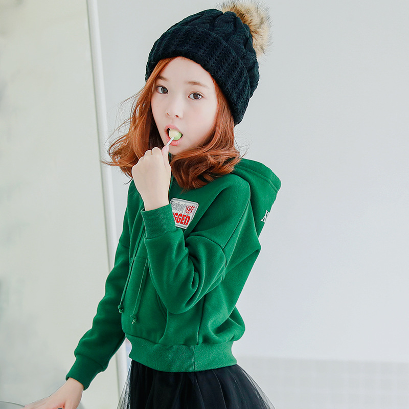 Green Hooded Girls Tshirt 2018 Spring Cotton Letter T Shirt Kids Outwear Baby Children Clothing Kids Jacket Girls Tops