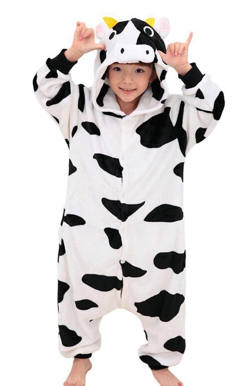 cow childrens cosplay costume for girls and boys hooded sleepsuit flannel animals kids pyjamas in one - Halloween Costume Cow