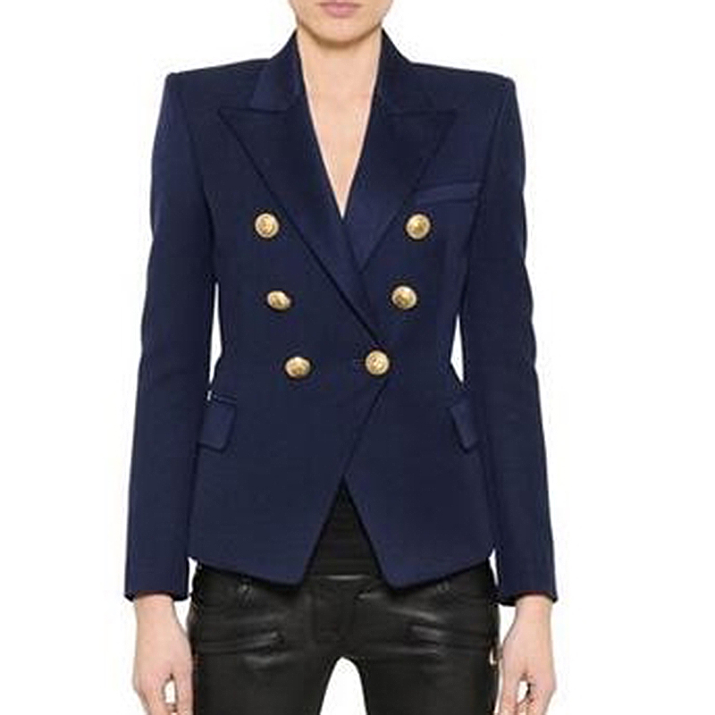 EXCELLENT QUALITY 2018 Stylish Classic Designer Blazer For Women Double Breasted Lion Buttons Blazer Jacket Plus Size S-3XL