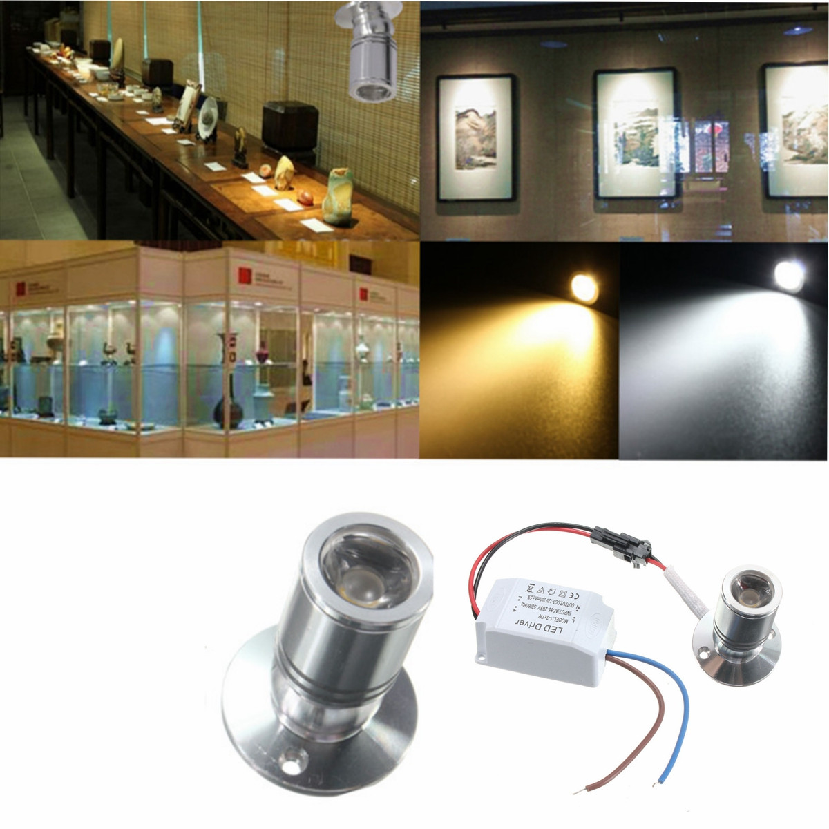1W Mini Jewelry Light Cabinet Lamp Aluminum Ceiling LED Spotlight Light Flood Lamp With Driver white Warm White AC85-265V