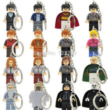 Harry Potter Figure Keychain Hermione Draco Malfoy Legoingly Snape Lord Voldemort Ring DIY Key Chain Building Blocks Models Toys