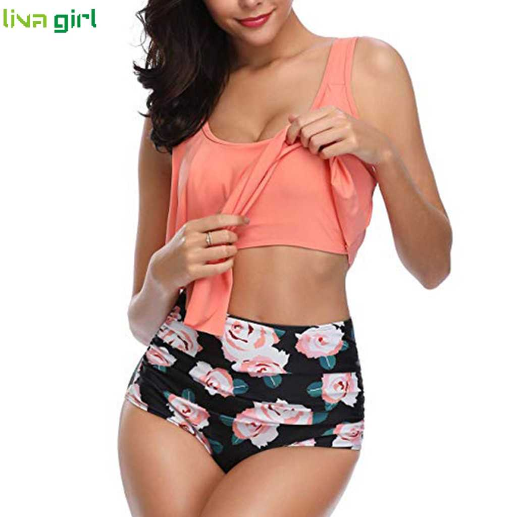 Liva girl New Swimsuit 2019 Ruffle Mid Waist Swimwear Female Sexy Floral Printed Tummy Control Bikini Set Plus Size S-3XL