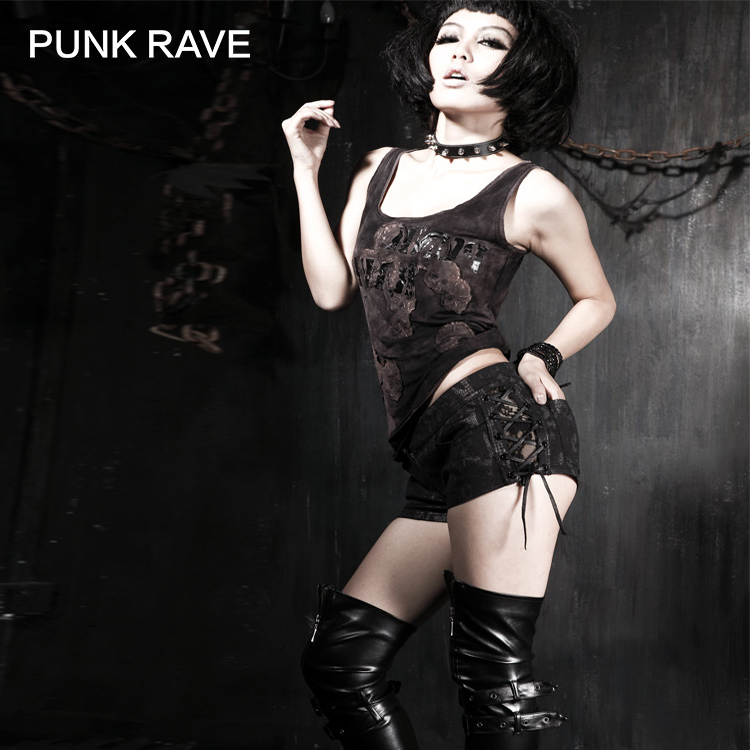 PUNK RAVE PUNK RAVE punk style black skinny shorts with lace and rope decorated K 138