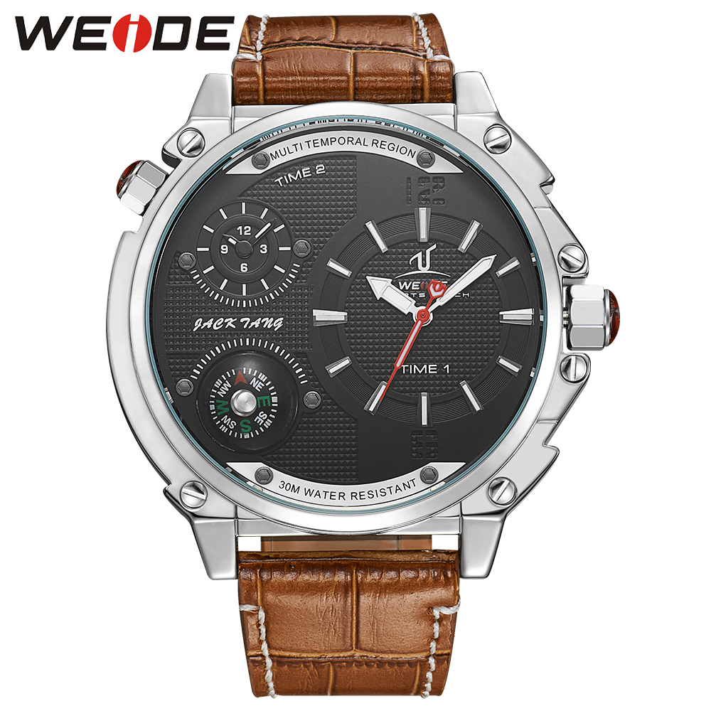WEIDE New Fashion Casual Watch for Men Large Black Dial Compass Dual Time Zone Waterproof Genuine Leather Quartz Wristwatches