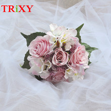 TRiXY B17 FREE SHIPPING Wedding Bouquet Bridal Holding Flowers Rose Artificial Flowers Bridal Bouquets For Romantic Wedding