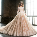 Luxury Wedding Dress vestido de novia Boat Neck Long Sleeve Lace Applique Flowers Brides Champagne Long Train Bridal Gowns 2017
