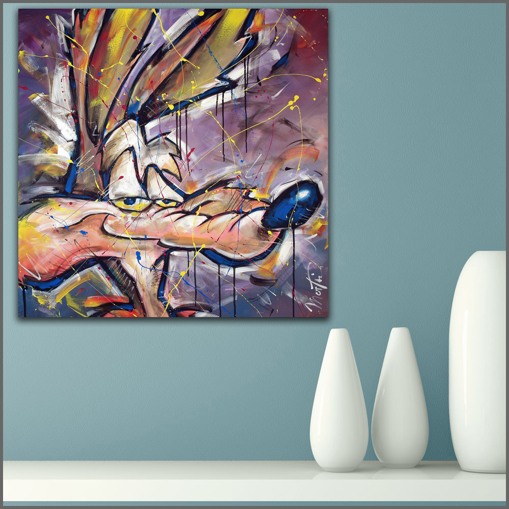 Large size Printing Oil Painting Abstract Coyote cartoon wall art canvas prints pictures for living room and bedroom No Frame