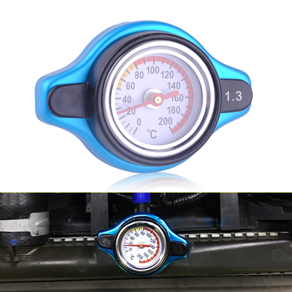 DWCX Car Aluminum Alloy Safe Thermostatic Gauge Radiator Cap Cover 1.3 bar Small Head Water Temp Meter For VW BMW Audi <font><b>Honda</b></font> Kia image