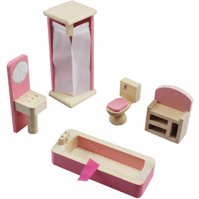 De Madera en miniatura Dollhouse Muebles de juguete set dormitorio ...
