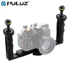 Puluz デュアルアルミハンドルトレイスタビライザ水中カメラハウジングケースダイビングトレイマウント移動プロスマートフォン