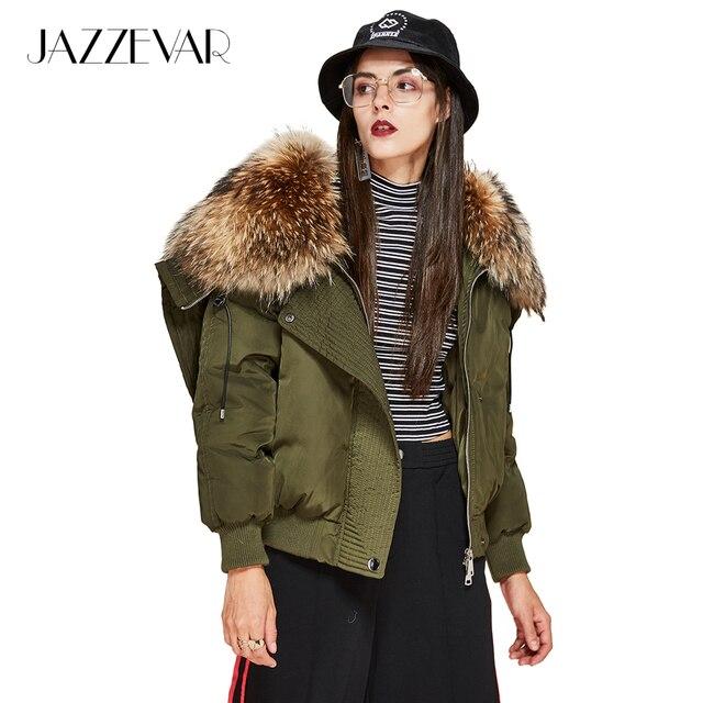Jazzevar новая зимняя высокая мода уличных Модные женские Роскошные пуховые пальто из меха енота парка с капюшоном куртка-бомбер