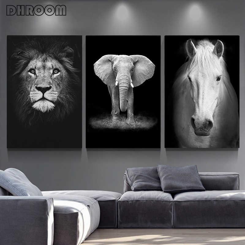 캔버스 페인팅 동물의 벽 아트 사자 코끼리 사슴 얼룩말 포스터와 지문 거실 장식을위한 벽 그림 홈 장식