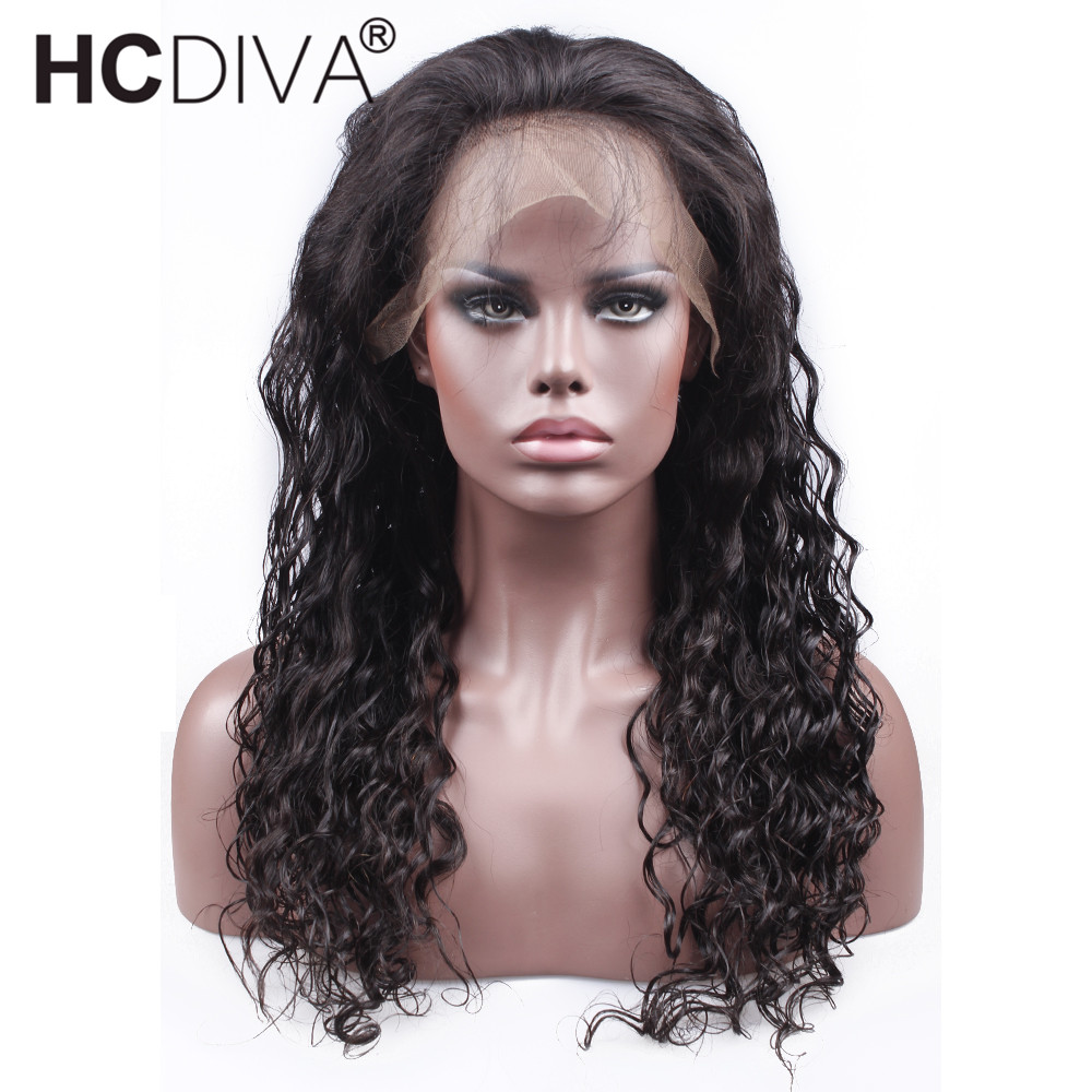 360 Lace Frontal Wig Brazilian Water Wave 150 Density Lace Front Human Hair Wigs Non-Remy Natural Hairline HCDIVA Hair