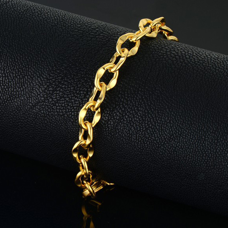 Mens Bracelet Male Gold Color Hand Chain Bracelet Wholesale Braslet 2018 Pulseira Masculina Chain Link Bracelet For Man Jewelry