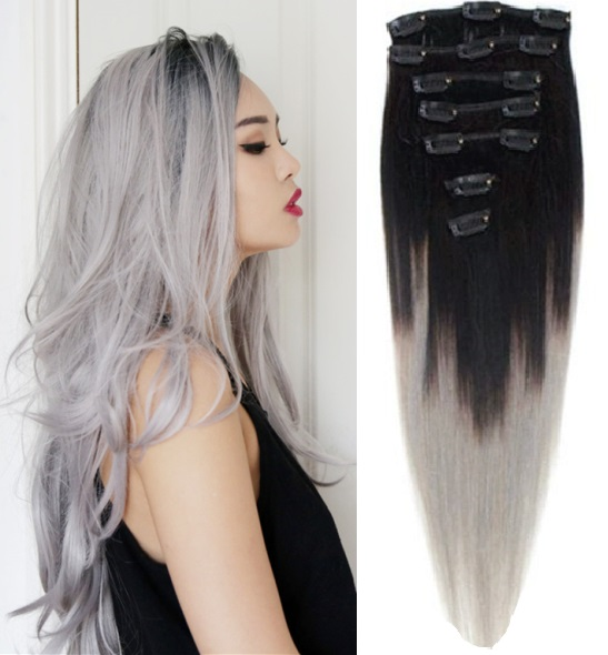12inch 26inch 120g 2pcs Lot Indian Ombre Grey Hair Full Head Clip In
