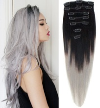 12inch-26inch 120g 2pcs Lot Indian Ombre Grey Hair Full Head Clip in Human Hair Extension Silver Gray Human Hair Weaving