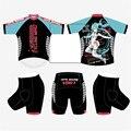 Men & Women Hatsune Miku Bike Riding Short Sleeve Outfits Sports Wear Tights Set Cycling Jersey Shirt Clothing+ Shorts Pants