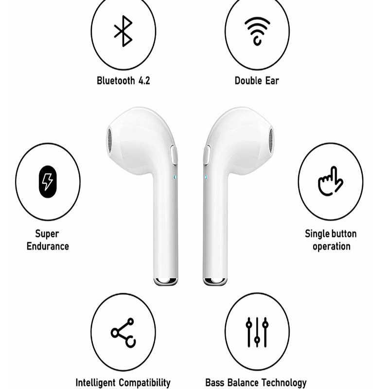 2018 nowy wysokiej jakości słuchawki, cena fabryczna Twins podwójne bezprzewodowe słuchawki niebieski ząb I7S TWS,