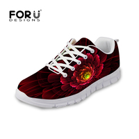 FORUDESIGNS Floral Style Flats Shoes Woman 3D Unique Flower Printing Casual Breathable Shoes For Women Lace
