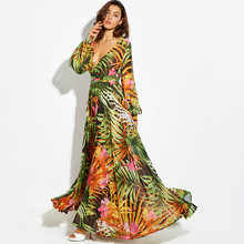 CUERLY Print Long Sleeve Dress Tropical Beach Vintage Maxi Dresses Boho Casual V Neck Belt Lace Up Tunic Draped Plus Size Dress