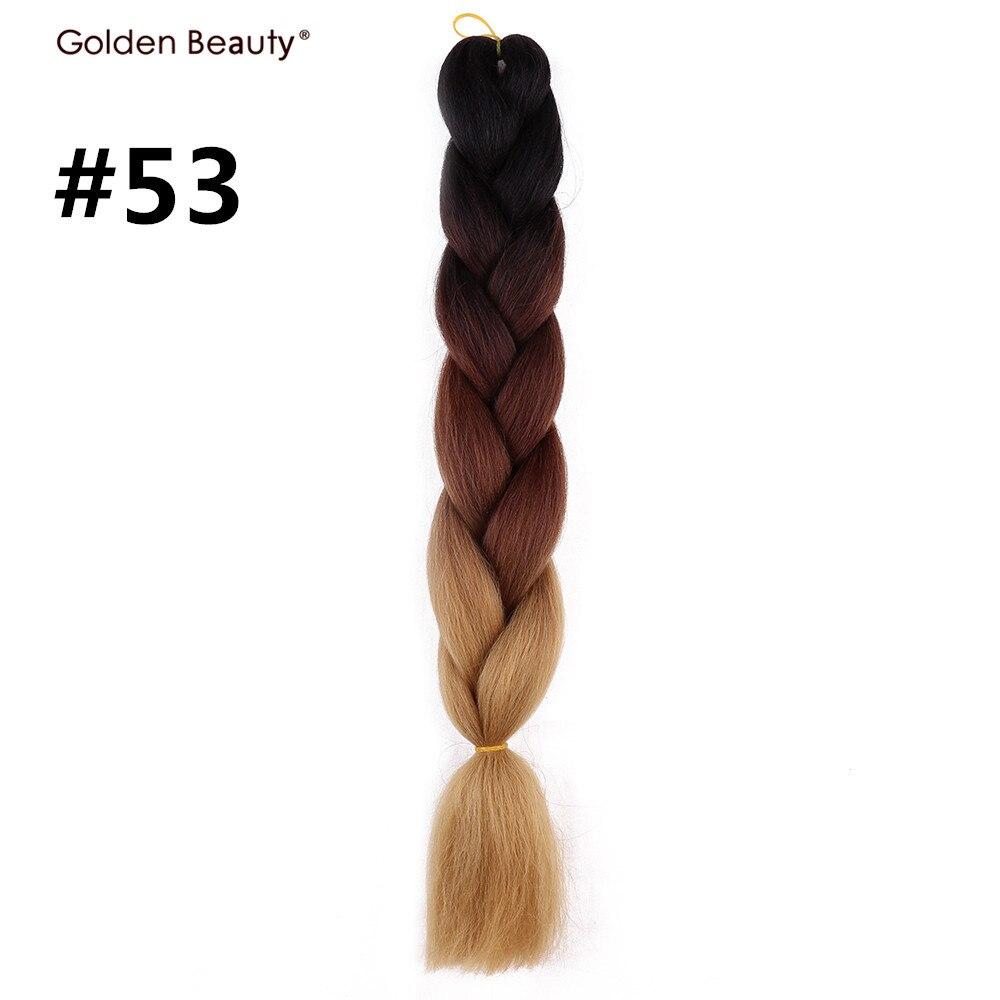 24 дюйма вязанная косами Ombre Джамбо оплетки волос Синтетические волосы для кос крючком волос золотой Красота