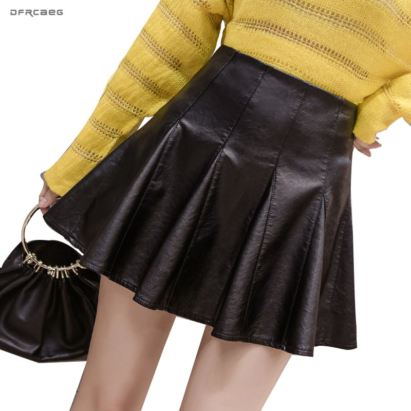 Black High Waist Women Pu Leather Mini Skater Skirt For Women 2019 Fashion Winter Ladies Sexy Short Pleated Skirt Female image