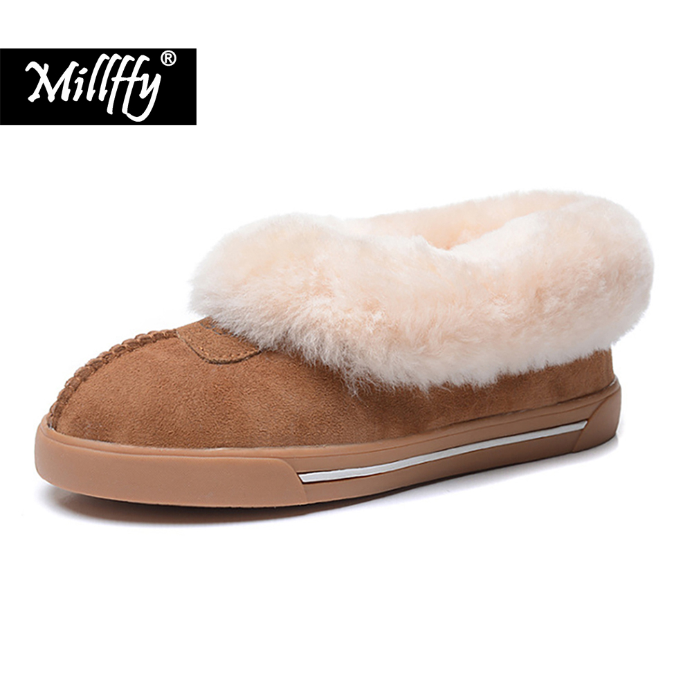 2019 New Top Quality Women Fashion Snow Boots Genuine Sheepskin Women Boots Warm Wool Winter Shoes Fur Ankle Boots lady shoes size 33 41 new winter warm fur double buckle genuine leather plush ankle boots pointed toe top quality fashion women snow shoes