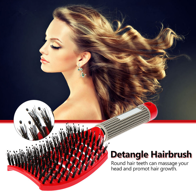 Hair Scalp Massage Comb Hairbrush Bristle Nylon Women Curly Detangle Hair Brush for Salon Hairdressing Styling Tool Dropshipping anti static hairbrush massage comb hair scalp paddle brush natural boar bristle beech wooden handle hair brush styling tool