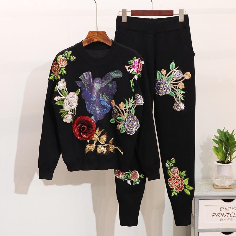 Manches Tricoté Vêtements Définit 2018 Survêtement Lâche Automne Hiver Deux Fleurs Chandails Noir Longues gris Pièces Femmes Pantalon De Paillettes xxSw1PnZ