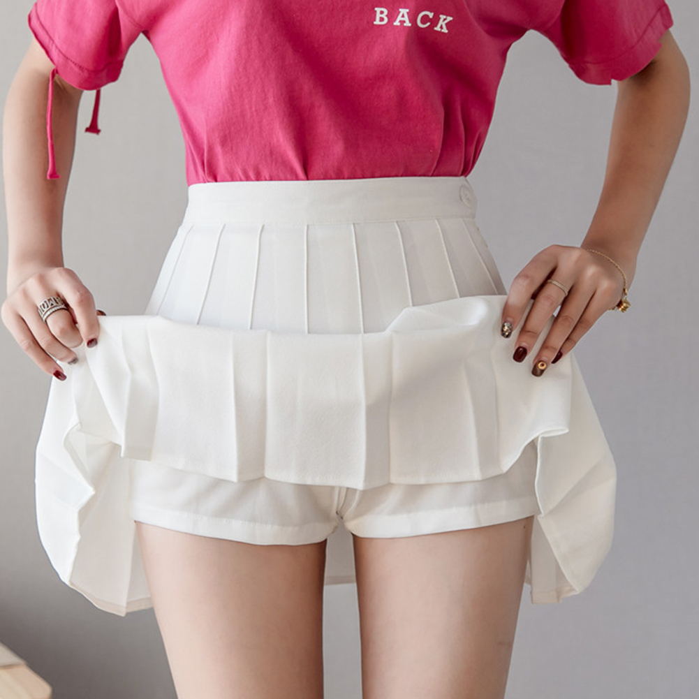 Women Fashion High Waist Skirts Summer Tennis Pleated Skirts 2019 Pure Color A-Line Mini Vestidos With Anti Exposure Shorts