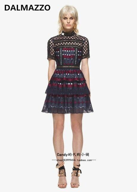 5dfef9d4713c DALMAZZO 2018 Newest Hot Sales Woman Fashion Self-Portrait Short Sleeve  Lace Zippers Mini Dresses High Quality Runway Lady Dress