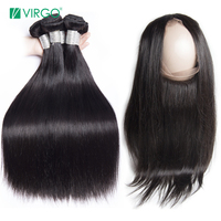 Straight Hair 3 Bundles with Closure Pre plucked 360 Lace Frontal Closure with Bundles Virgo Remy Brazilian Human Hair Weaves
