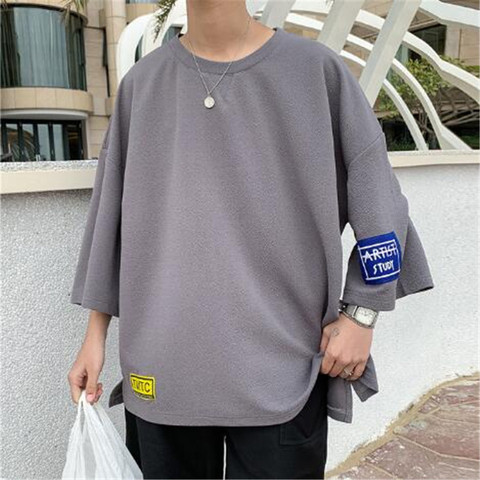 summer Men loose T-shirt Harajuku 2019 Men Hip Hop Casual Tshirts Male Korean Oversize Vintage Summer Tees Plus Size M-3XL Multan