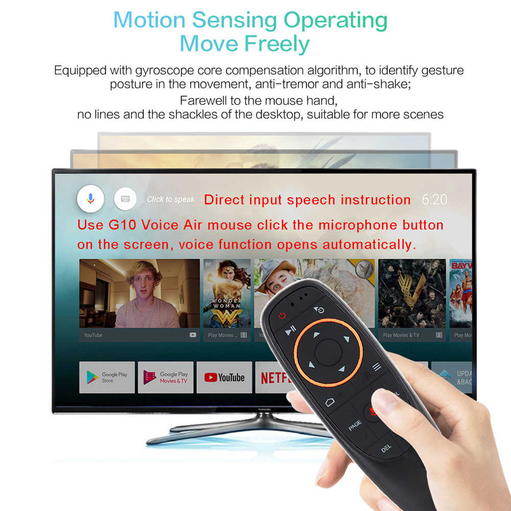 Avatto G10 Gyro Sensing Fly Air Mouse dengan Suara Kontrol 2.4 GHZ Wireless Mikrofon Remote Control untuk Smart TV android Box PC