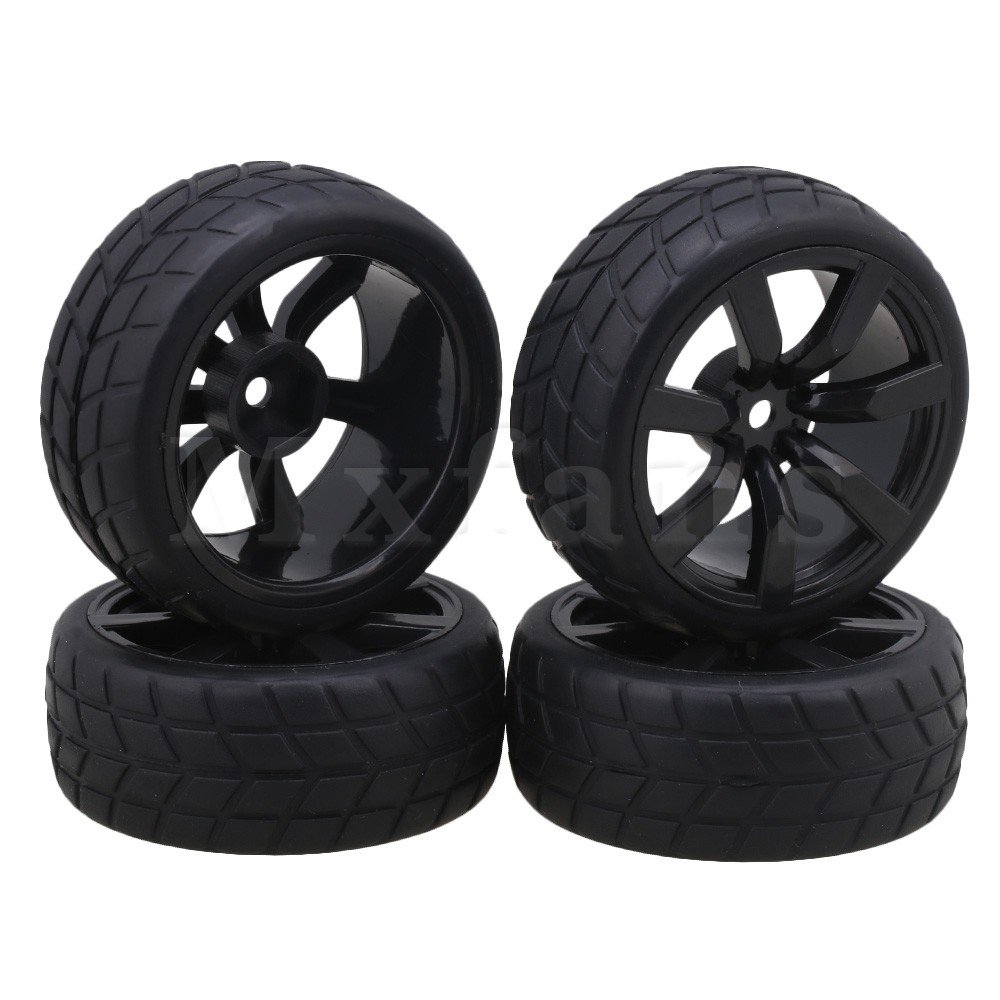 Mxfans Black Checkered Rubber Tyres with Plastic Wheel Rims for RC 1:10 On-road Racing Car Pack of 4 mxfans 4 pcs aluminum alloy wheel felloe rc 1 10 on road rimmer black wheel rims