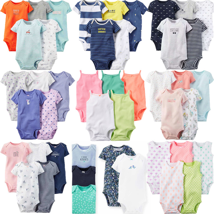 Newborn Clothes Baby Summer Clothes Infant Cotton Short Sleeve Rompers 5pcs Set Baby Bodysuits in Overalls from Mother Kids