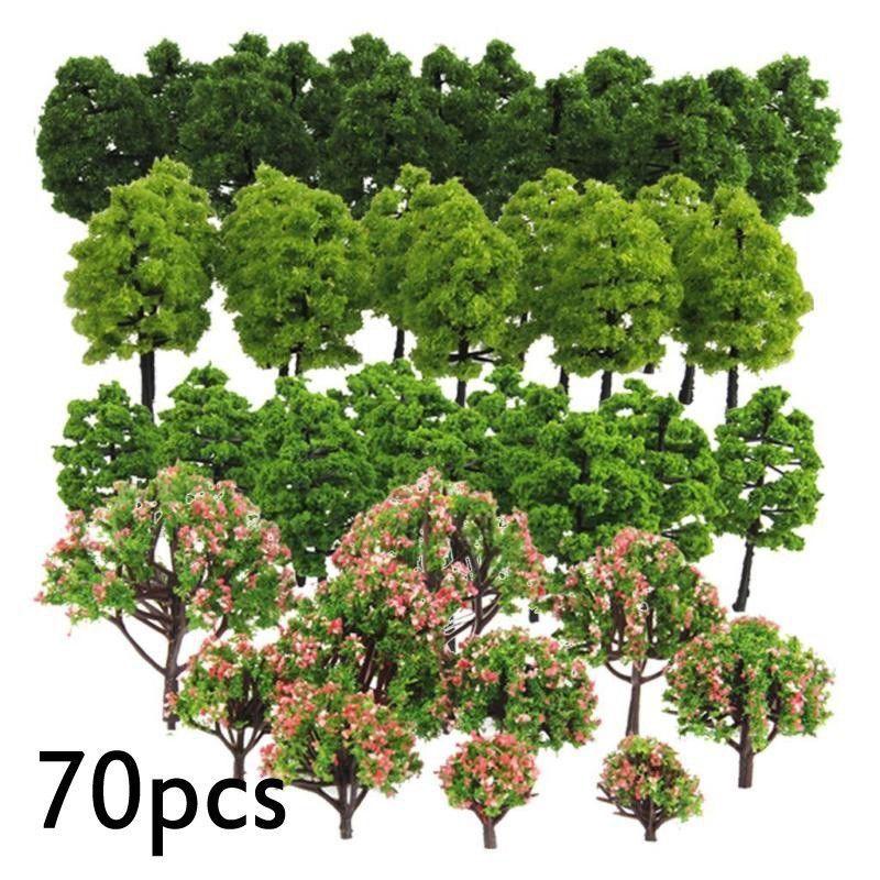 70pcs Model Trees HO Z TT Scale Layout Train Garden Park Buildings Diorama Layout Green Trees Peach Flower Trees Mixed Models