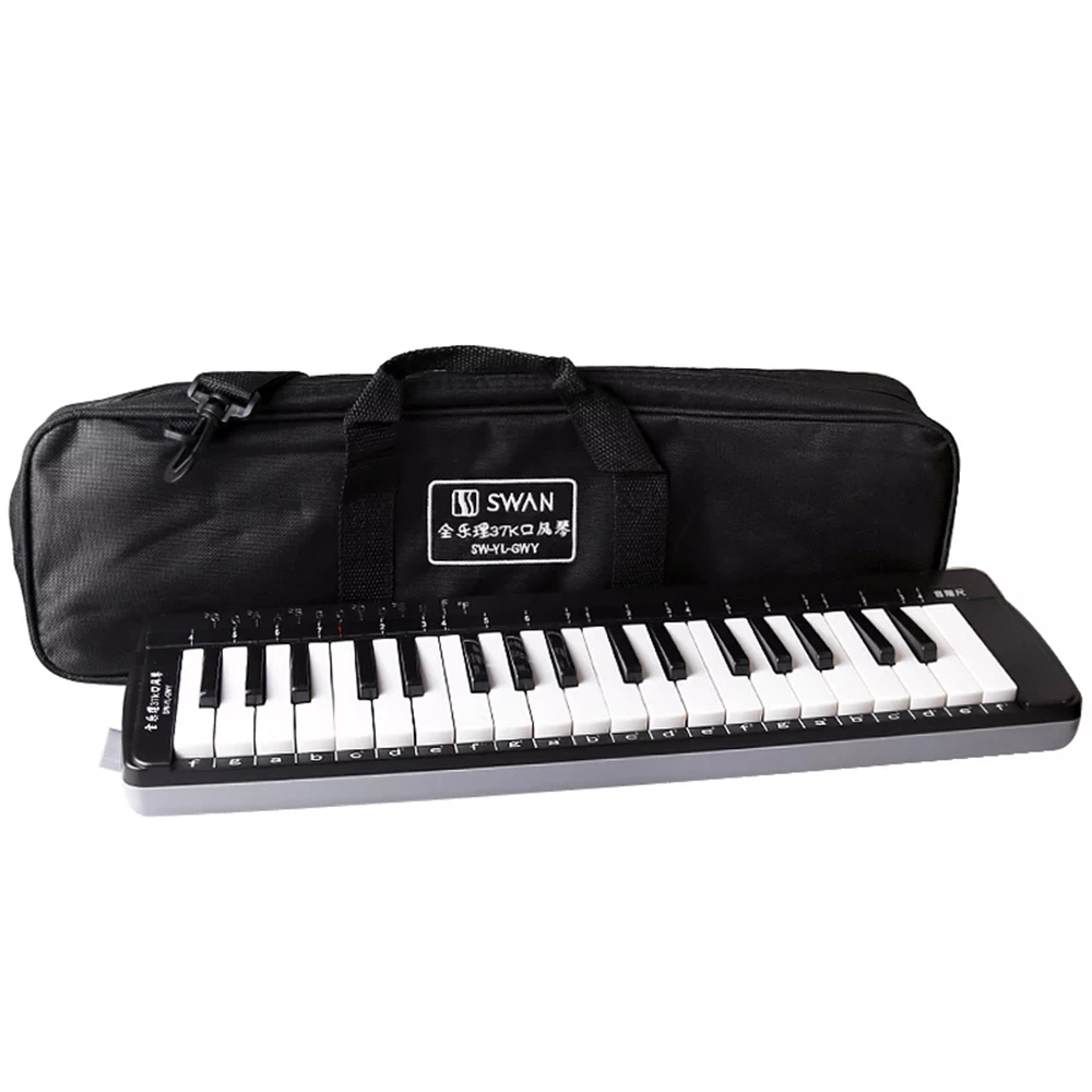 Swan <font><b>37</b></font> <font><b>Key</b></font> <font><b>Melodica</b></font> Education Musical Instruments Black ABS Keyboard Teaching Music-fundamentals Mouth Organ For Beginner SW37K image