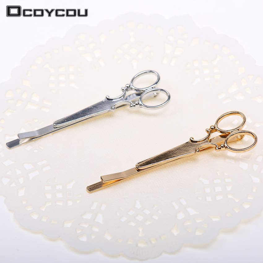 Hot Gold Silver Scissors Pattern Hair Clip Hair Accessories Headpiece Korean Cute Hair Clips
