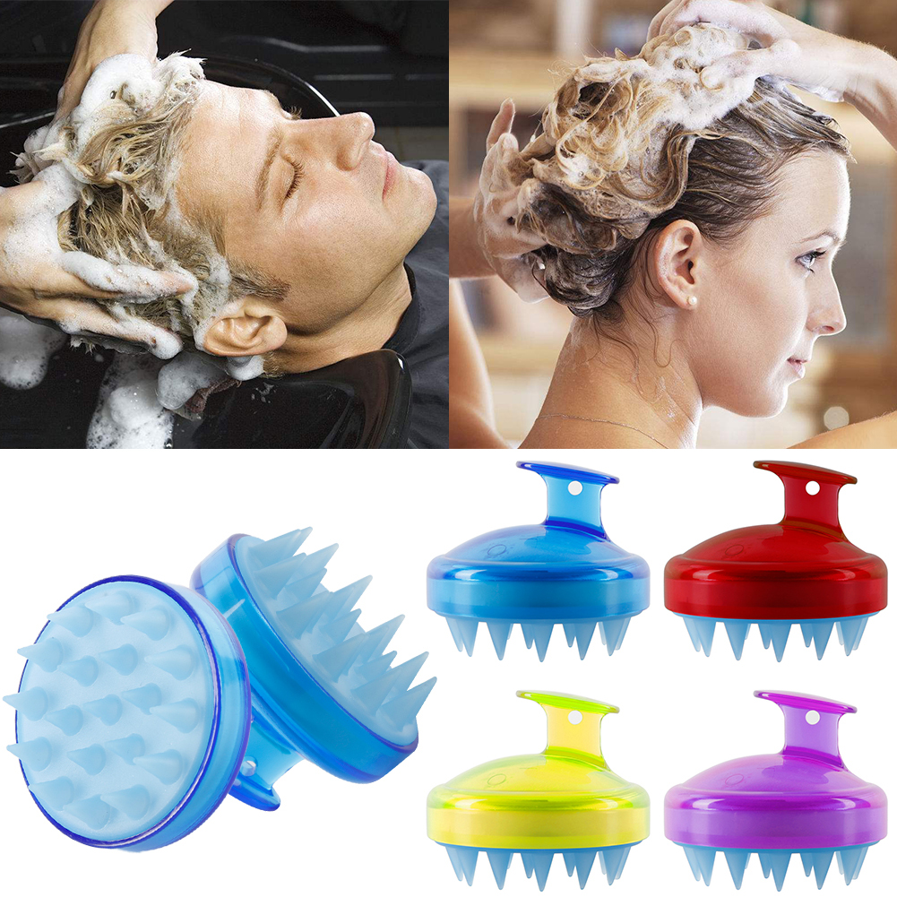 1 Pcs Spa Slimming Massage Brush Silicone Head Body Shampoo Scalp Massage Brush Comb Hair Washing Comb Shower Bath Brush