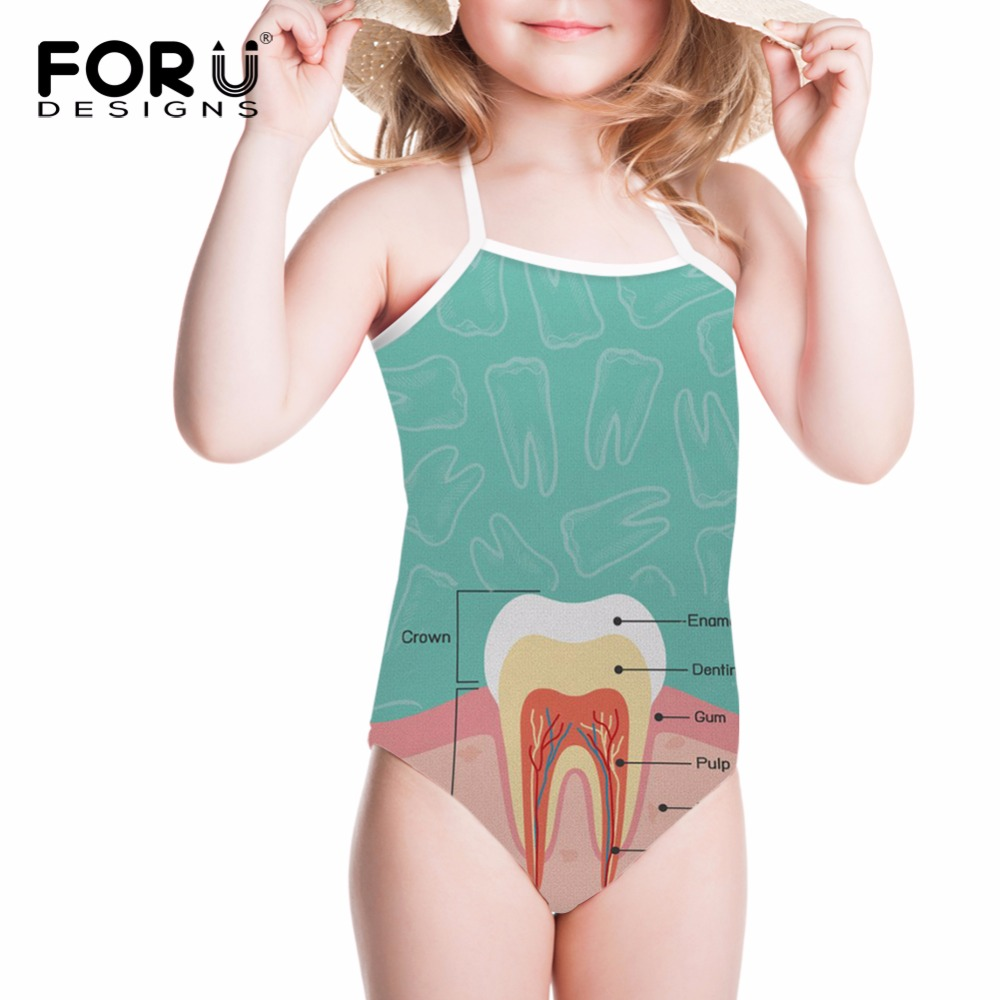 FORUDESIGNS Swimsuit for Girls Children Swimwear 3D Cute Teeth Printing One-piece Suits Bathing Suit for Kids Baby Beachwear forudesigns one piece swimsuit for girls children swimwear friuts strawberry printing bathing suit baby bikinis kids swim suits