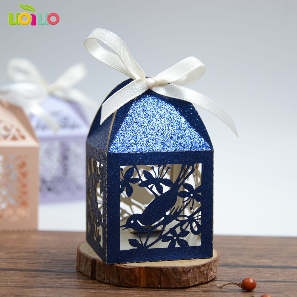 30 Colors navy blue bird Shaped Wedding Candy Boxes Favor