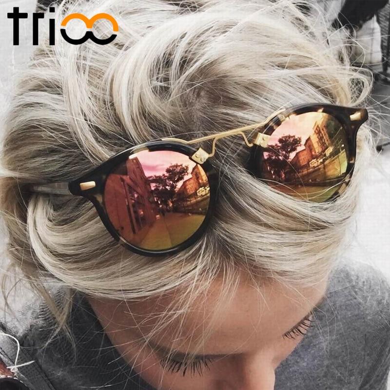TRIOO Mirror Round Sieviešu saulesbrilles krāsa objektīva īpašais dizaineris ovāls Lunette UV400 aizsargbrilles saulesbrilles sievietēm