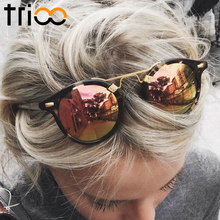 TRIOO Mirror Round Ladies Sunglasses Color Lens Special Designer Oval Lunette UV400 Protective Eyewear Sun Glasses For Women