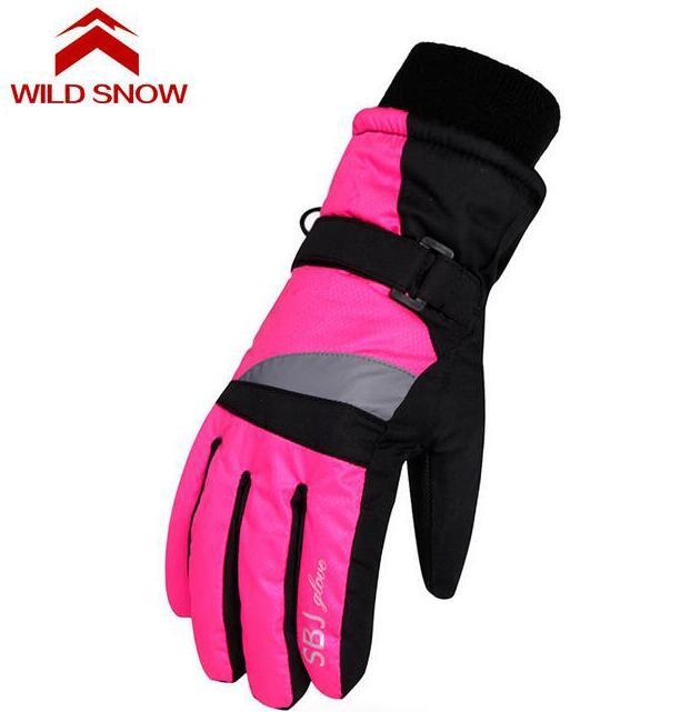 Wild snow Children Ski gloves Snowboard Gloves Snowmobile Motorcycle Winter Skiing Riding Climbing Waterproof Snow Gloves