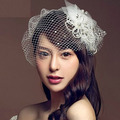 Velo de Encaje blanco Simular-perla Gasa Pinza de Pelo Del Tocado Nupcial Accesorios Para el Cabello Diadema Nupcial Pelo de la Boda Joyería Z0601 ropa de